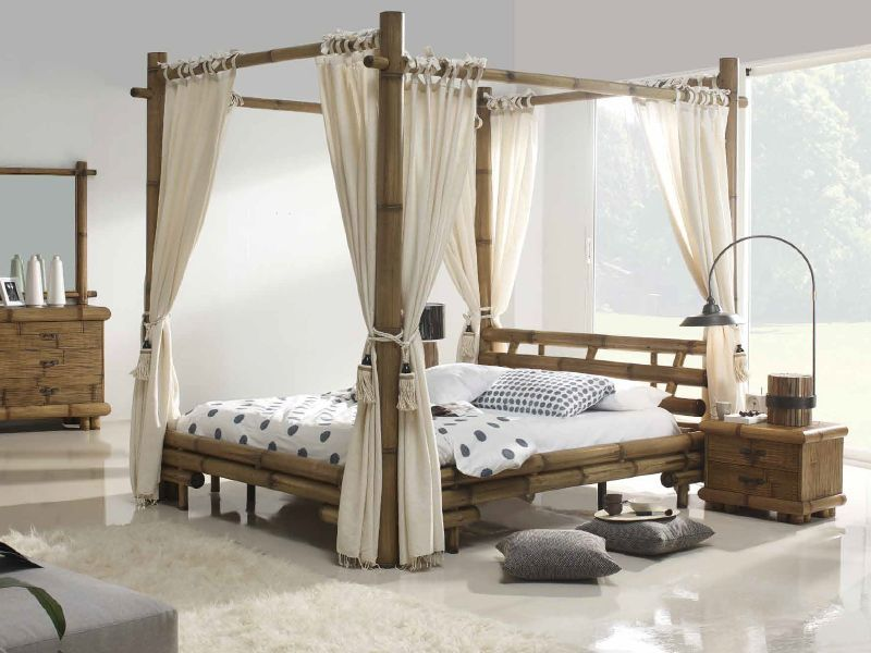 lit baldaquin belega en bambou de fabrication indonsienne. Black Bedroom Furniture Sets. Home Design Ideas