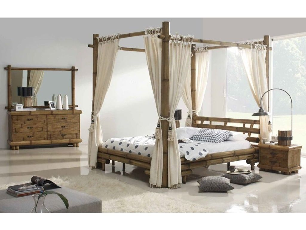 lit baldaquin belega en bambou de fabrication indonsienne le monde du lit. Black Bedroom Furniture Sets. Home Design Ideas