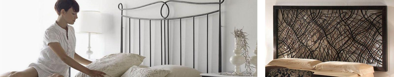 Tête de lit de qualité en bois massif, fer forgé, bambou et rotin...
