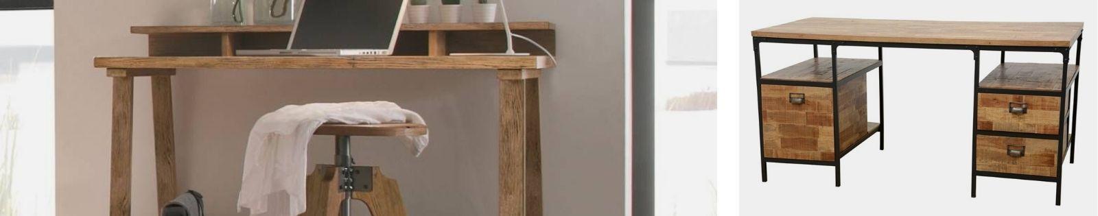 Bureaux en bois massif : meubles haut de gamme en hévéa, chêne...